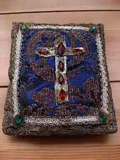 Antike Deko Kreuz religiöse Motive bestickt m. Metallfäden Antik Christ