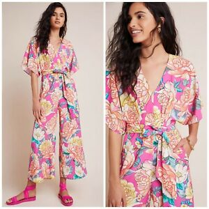 ANTHROPOLOGIE x FARM RIO Eulalie Jumpsuit Pink Floral Wide Leg Sz Medium 8 10