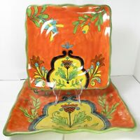 """Set of 2 Talavera Mexican Art Pottery Square Serving Platters Dishes 9"""" and 11"""""""