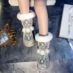 Women Rhinestone Handmade Mink Fur Leather Thick Rabbit Fur Snow Boots Shoes