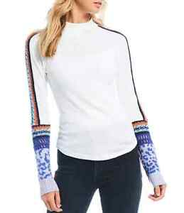 NWT FREE PEOPLE sz M SWITCH IT UP CUFF THERMAL SHIRT TOP  IVORY
