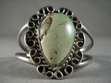 Turquoise Silver Vintage Navajo Bracelet One Of The Largest Teardrop Royston