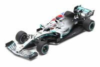 Mercedes Petronas W10 with Flag (Lewis Hamilton - Winner British GP 2019) in Sil
