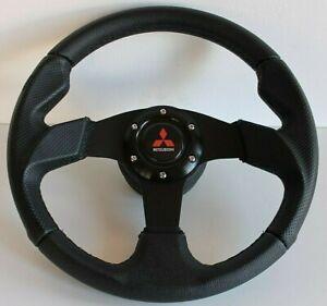 Steering Wheel fits Mitsubishi Leather 3000GT Lancer Pajero Eclipse Mirage L Evo