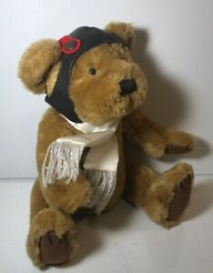 Original Brass Button Bear Jointed Plush Aviator Hat and Scarf