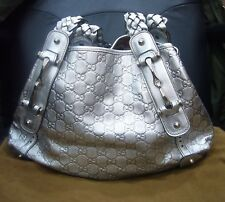 GUCCI GUCCISSIMA METALLIC SILVER LEATHER LARGE HORSEBIT PELHAM SHOULDER BAG