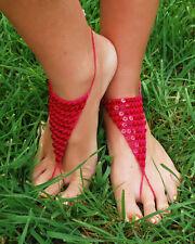 Barefoot Sequin Toe Foot Thong Sandal Anklet Bracelet Foot Chain Magenta
