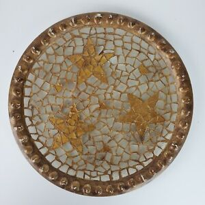 Vintage Round Glass Platter Collage ART in Stained Glass & Gold Stars 13 Inch