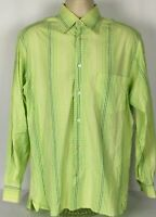 Ermenegildo Zegna Long Sleeve Button Front Shirt Green White Check Mens Medium