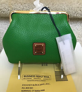 Dooney & Bourke Pebble Leather Large Frame Coin Purse in KELLY GREEN