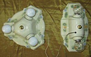 Set of 2 Vintage Ceiling Fixtures Chandelier 1930 porcelain fixture by Porcelier