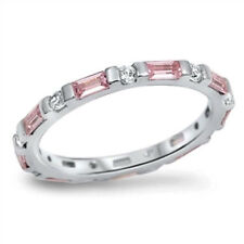 USA Seller Baguette Band Ring Sterling Silver 925 Best Deal Jewelry Pink Size 7