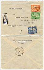 Aden Gpo registrado a Francia kg6 recargos 1s + 50 quater + 5c correo aéreo 1953
