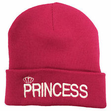 Princess Embroidered Beanie - His & Hers Couple Prince Hipster Fashion Pink Hat