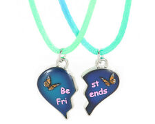 NEW BEST FRIENDS MOOD Butterfly Heart  Pendants 2 Necklace BFF Friendship