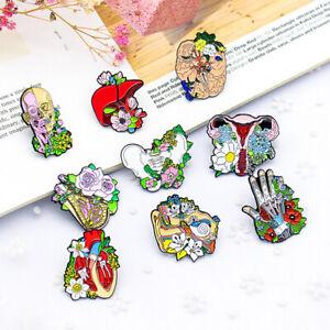 Pin Brooches Gift Doctor Cartoon Bone Flower Heart Skull Backpack Badges Enamel