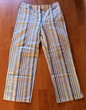 Ladies Striped Trousers Three Quarter Length Cotton Pants Golf Pocket French S14
