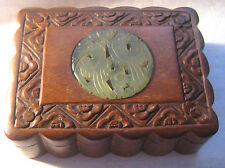 Antique Chinese Wood Dresser / Trinket Box – Carved Jade Birds Medallion