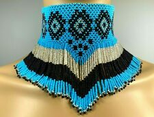 NATIVE BEADED ETHNIC TURQUOISE BLUE BLACK HANDCRAFTED CHOKER NECKLACE N19/5N