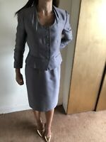 Lk Bennett Grey Occasion Wear Suit Dress With Jacket Wool Silk Bend Size 10