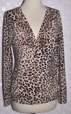 VERTIGO PARIS Cheetah PRINT STRETCH EXTRA SOFT CARDIGAN SWEATER W/ BEADS  New L