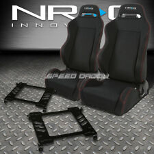 NRG 2 TYPE-R RED STITCHES  RACING SEATS+TENSILE BRACKET FOR 89-98 NISSAN 240SX