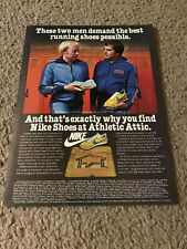 Vintage 1970s NIKE WAFFLE Running Shoes Poster Print Ad *YOUNG PHIL KNIGHT* RARE