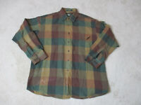 Orvis Button Up Shirt Adult Large Brown Green Long Sleeve Outdoors Mens *