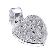 Materia 925 Silber Beads Zirkonia - Dangle Beads Herz Anhänger für Bead Armband