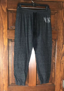 Victoria Secret Lounge Jogger Pants Drawstring Charcoal Gray Sz M VS BLING