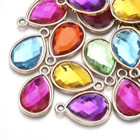 100pcs UV Plating Acrylic Rhinestone Drop Pendants Faceted Dangle Charms 25x16mm