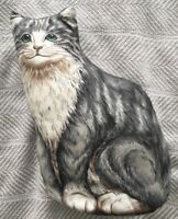 Vintage Handmade Stuffed Cat Printed Fabric Pillow Grey & White Cat Folk Art EUC