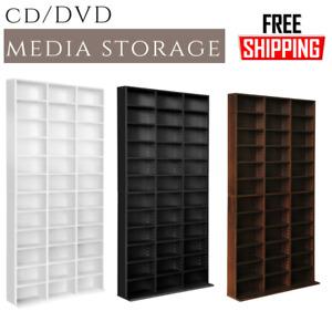 Adjustable CD DVD Bluray Media Book Storage Cabinet Shelf White Black Brown AU