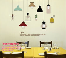 3D Pendant Lamp Wall Sticker Removable Mural PVC Home Room Art Decor Decal