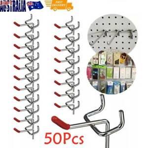 50Pcs Steel Pegboard Hooks Grooved Panel Display Shop Peg Board Hook 5cm AU