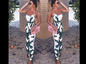 Women V Neck Wide Leg Palazzo Slack Pants Trousers Party Romper Tropical 1 Piece