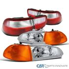 For 92-95 Civic 4dr Clear Headlightsamber Corner Lampsredclear Tail Lights
