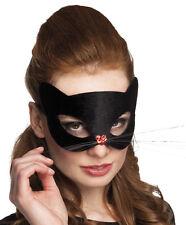 Deluxe Ladies Black Cat Masquerade Mask Fancy Dress Costume Halloween Accessory