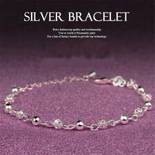Women 925 Silver Ball Crystal Chain Bangle Cuff Charm Bracelet Xmas Jewelry Gift