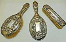 Antique Repousse Sterling Silver Dressing Table Set - Bevelled Mirror + Brushes