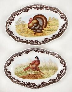 Spode Woodland Turkey & Pheasant Pickle / Candle / Relish Dishes Set of 2  NEW