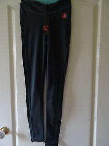 Smoke grey & turquoise sports/fitness/exercise leggings/trousers - size XS
