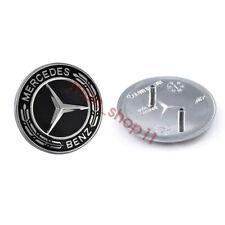 Mercedes-Benz Black Hood Emblem Laurel Wreath Flat Logo GLC GLE GLS GL G ML GLK