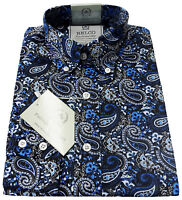 Relco Blue Paisley Shirt Platinum Collection Long Sleeve Mod Retro Vintage Mens
