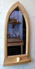Gothic Arch Wooden  Pine Mirror with Shelf  88.5 cm long Antique Waxed