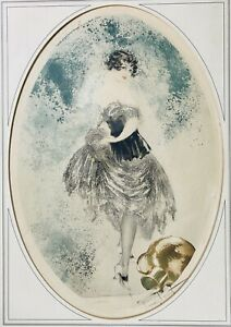 "Louis Icart ""Spilled Jug of Milk"" original etching"