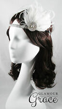Charleston vintage gatsby 1920s flapper costume white feather clip headpiece