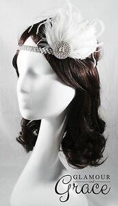 Charleston vintage gatsby 1920s flapper costume white feather clip headpiece