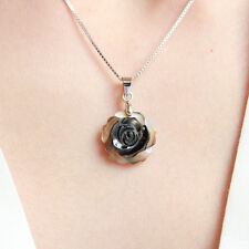 Mother Pearl Shell Black Grey Flower 925 Sterling Silver Necklace Vintage Retro