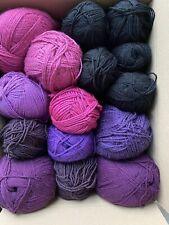 16 Balls Yarn / Wool Bundle Joblot Knitting crochet  1.7kg Black Purple Pink 3